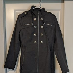 Military style trench coat black with zippers